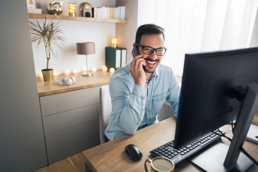 man on a call in a work from home office